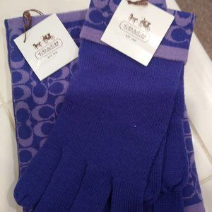 Coach Signature 100% Merino Wool Gloves and Scarf